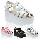 Womens Strappy Ladies Platform Wedge Summer Cleated Sole Sandals Size 3-8
