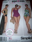 SIMPLICITY #1116 - LADIES ONE PIECE BATHING SUIT & WRAP SARONG PATTERN 10-28W uc