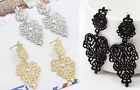 ETHNIC LOOK SILVER OR GOLD TONE DROP CUT-OUT DROP HEART  FILIGREE METAL EARRINGS
