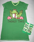 Womens Funny Toad Frog Nightshirt Sleepshirt Slipper Socks Lazy One Sleepwear