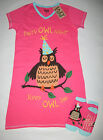 Women's S/M Party Owl Nightshirt Sleepshirt Slipper Socks Lazy One Sleepwear