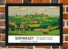 Framed Somerset Railway Travel Poster A4 / A3 Size In Black / White Frame