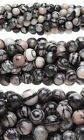 Lot of 50 Round Black & White Silk Stone Onyx Marble Gemstone Beads Small - Big