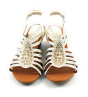 White Soo Cute Strappy Caged Mid Wedge Dress Sandals Embellished Shoes