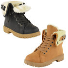 WOMEN GRIP SOLE WINTER ARMY COMBAT FUR LINED LADIES SNOW ANKLE BOOTS SHOES SIZE