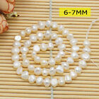 6-7,7-8,9-10MM Natural White Freshwater Pearl Freeform beads 14inch