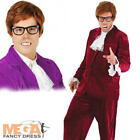 1960s Gigolo + Wig Mens Austin Powers 60s Fancy Dress Party Adults Costume New