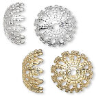 8 Big 12mm Round Fancy Filigree Domed Spacer Bead End Caps Plated Brass Metal
