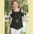 OH MY GAUZE  Cotton Peek-a-Boo  DANA V-Hem Top 1 (S/M) 2 (L/XL) 3 (1X/2X) BLACK