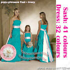 3yrs to UK26 long sash wedding party prom bridal bridesmaid flower girl dress