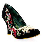 Womens Irregular Choice Pearly Girly High Heels Floral Court Shoes US 5.5-11
