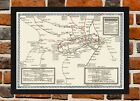 Framed London Underground 1920 Tube Map A4 / A3 Size In Black / White Frame