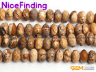 """6x10mm Natural Picture Jasper Rondelle Faceted Stone Beads Jewelry Making 15""""DIY"""