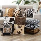 Stylish Leopard Faux Fur Decorative Sofa Throw Pillow Cover Cushion Case Square