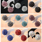 10mm Women Lady Resin Round Crystal Rhinestone Disco Ball Ear Stud Earrings Gift