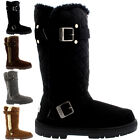 Womens Tall Quilted Twin Buckle Fur Lined Winter Rain Snow Shoes Boots 3-8