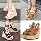Women's Leather Sandals Boots Wedge High Heels Shoes Open Toes Platform Pumps