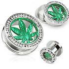 Pair Glitter Marijuana Pot Leaf Multi Gem Rim Steel Screw Fit Tunnels Gauges