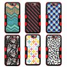 For LG K10 NATURAL TUFF Hybrid Rubber Hard Snap-on Case Red Black 7Colors