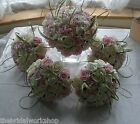 Wedding Flowers Brides Handtied & 3 Bridesmaids Flowers Posy Artificial