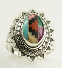 Inlaid Turquoise,Onyx, Coral etc Multi Gemstone Zuni Style Silver Ring  #49