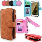 Genuine Leather Removable Wallet Zipper Card Case Cover For Samsung Galaxy S6