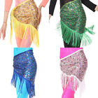 New belly dance paillette peacock hip scarf tribal fringe tassel shawl 4 colours
