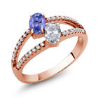 1.36 Ct Blue Tanzanite White Topaz Two Stone 18K Rose Gold Plated Silver Ring