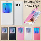FOR SAMSUNG GALAXY S7 S7 EDGE CASE LUXURY WINDOW FLIP LEATHER CASE PHONE COVER