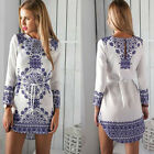 UK Womens Bodycon Long Sleeve Dress Ladies Party Evening Mini Dress Size 6 - 20