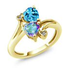 1.93 Ct Mystic Topaz and Swiss Blue Topaz 18K Yellow Gold Plated Silver Ring