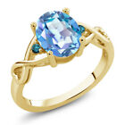 1.86 Ct Mystic Quartz Blue Diamond 18K Yellow Gold Plated Silver Ring