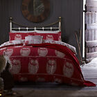 Catherine Lansfield A Wise Old Owl Cotton Rich Red Duvet Quilt Cover Bedding Set