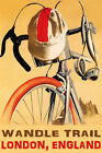 BICYCLE WANDLE TRAIL CYCLING LONDON ENGLAND BIKE BIKING VINTAGE POSTER REPRO