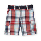Koala Baby Boys Red Plaid Belted Woven Cargo Shorts