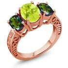 3.25 Ct Lemon Quartz Mystic Topaz 18K Rose Gold Plated Silver Ring
