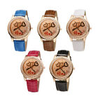 Bling Fashion Woman Love Style Leather Strap Gold Tone Analog Quartz WristWatch