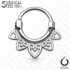 Tribal Fan All 316L Surgical Steel Round Septum Clicker Nose Ring