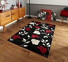 Cheap Contemporary Black Red High Density Stain Resistant Soft Carved Flower Rug