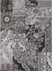 Black Gray Contemporary Area Rug Abstract Floral Vines Blocks Outdoor Carpet