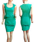 Green Office Career Pencil Dress Formal Vintage Inspired Peplum Style SZ 14 New