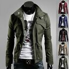 NEW Mens Military Slim Fit Rider Zip Buttons Trench Coats Jackets Outwear Tops