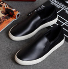 Fashion Men Slip On Leather Board Canvas Loafer Casual Sneakers Men's shoes