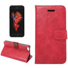 Crazy Horse Leather Stand Card Wallet Phone Pouch Cover Case for iphone SE Black