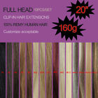 """20"""" Thick Deluxe Clip In Remy 100% Human Hair Extensions 160g Full Head 10pcs"""