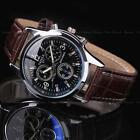 Fashion Men's Leather Stainless Steel Case Army Sport Analog Quartz Wrist Watch