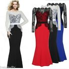 Women Dress Fashion Black Lace Patchwork Long Sleeve Formal Evening Maxi Skirt