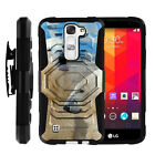 For LG K7 | Holster Clip + Tempered Glass Heavy Duty Case Wild Animals