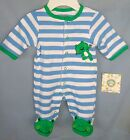 LITTLE ME 100% Cotton Blue & White Stripe Footie w/Frog Applique BOY SIZES NWT
