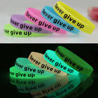 Friendship Silicone Rubber Bracelet Cuff Wristband Wrist Band 12mm Glow In Dark